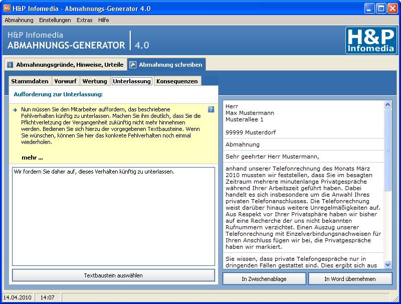 Hp Infomedia Abmahnungs Generator Screenshots