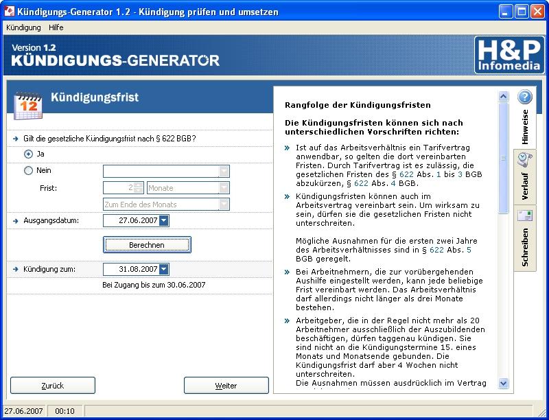 Hp Infomedia Kündigungs Generator Screenshots